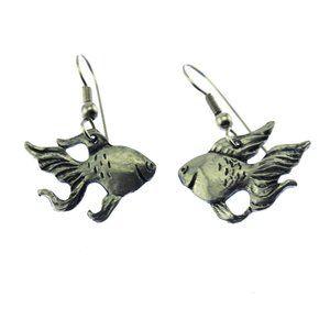 Large Silver Fish Dangle Earrings